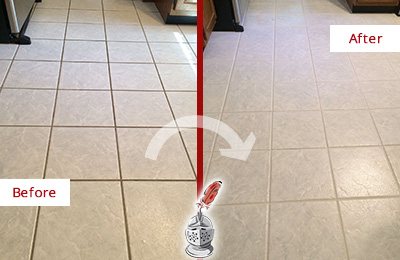 Before and After Picture of a Gulf Harbors Kitchen Ceramic Floor Sealed to Protect From Dirt and Spills