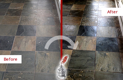 Before and After Picture of a Dull Gulf Harbors Slate Floor Sealed to Bring Back Its Colors