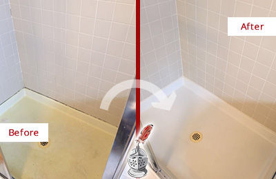 Before and After Picture of a Gulf Harbors Shower Sealed to Remove and Protect Against Mold