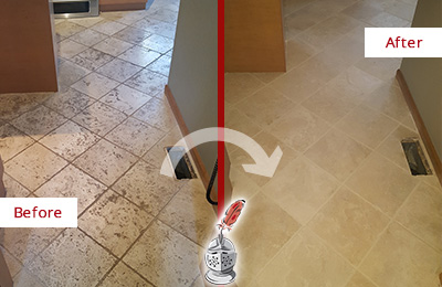 Before and After Picture of a Arbor Greene Kitchen Marble Floor Cleaned to Remove Embedded Dirt