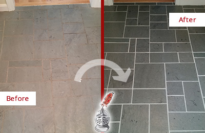 Before and After Picture of a Hunter's Green Slate Floor Cleaned to Remove Deep-Seated Dirt