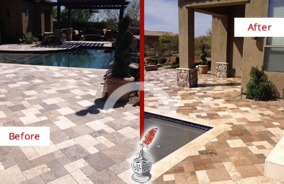 Before and After Picture of a Dull Hunter's Green Travertine Pool Deck Cleaned to Recover Its Original Colors