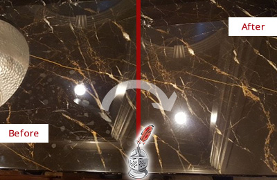 Before and After Picture of a Hunter's Green Marble Countertop Cleaned to Remove Water Spots