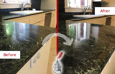 Before and After Picture of a Cheval Marble Kitchen Countertop Honed to Remove Water Marks