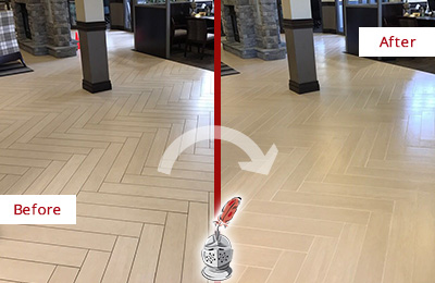 Before and After Picture of a Heritage Harbor Hard Surface Restoration Service on an Office Lobby Tile Floor to Remove Embedded Dirt