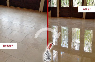 Before and After Picture of a Palm Harbor Hard Surface Restoration Service on a Dull Travertine Floor Polished to Recover Its Splendor