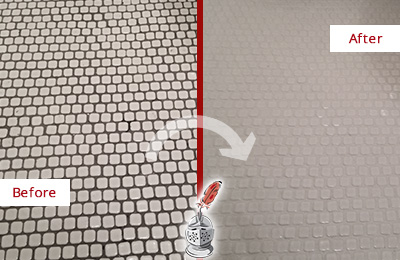 Before and After Picture of a Heritage Harbor Hard Surface Restoration Service on a Bathroom Tile Floor Recolored to Fix Grout Color
