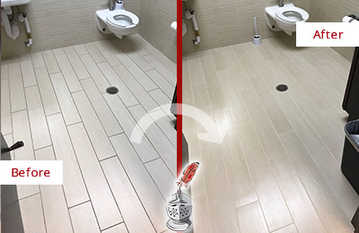 Before and After Picture of a Gulf Harbors Office Restroom's Grout Cleaned to Remove Dirt
