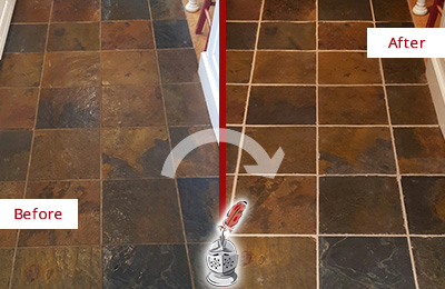 Before and After Picture of a Hudson Slate Floor Recolored Grout
