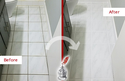 Before and After Picture of a Hudson White Ceramic Tile with Recolored Grout