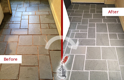 Before and After Picture of Damaged Bassett Creek Slate Floor with Sealed Grout