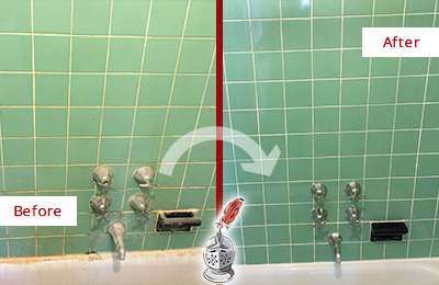 Before and After Picture of a Lutz Bath Tub Grout Sealed to Avoid Water Damage