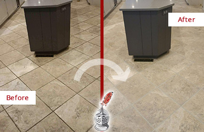 Before and After Picture of a Lutz Kitchen Floor Grout Sealed to Remove Stains