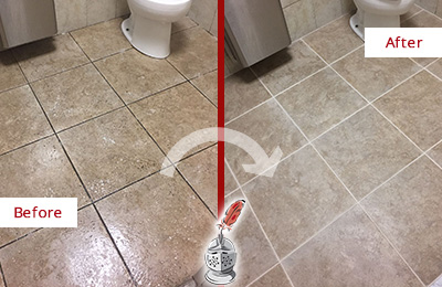 Before and After Picture of a Clearwater Restroom Floor Cleaned to Eliminate Dirt