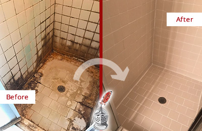 Before and After Picture of a Clearwater Ceramic Shower Cleaned to Remove Grime
