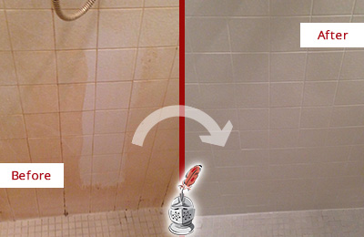 Before and After Picture of a Clearwater Porcelaine Shower Cleaned to Remove Soap Scum